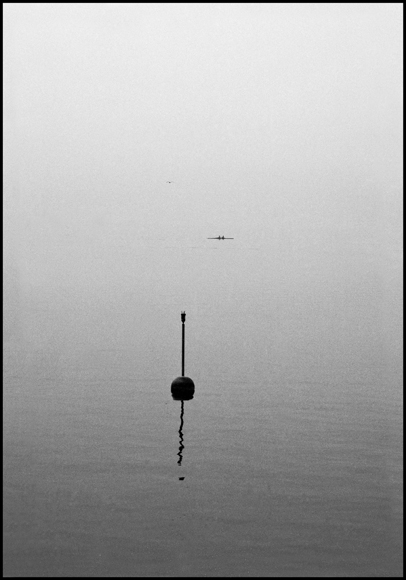 24.Rower with Seagull and buoy in fog